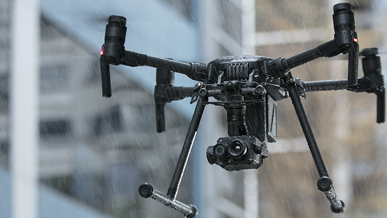 DJI Matrice 200 with Zenmuse XT2 flying in the rain